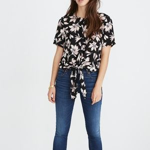 Madewell Black Silk Winter Orchid Front Tie Top L